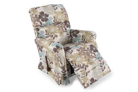 "Contemporary Floral-Patterned 33.5"" Spring Recliner"