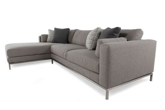 Two piece mid century modern sectional in steel gray for Doris 3 piece sectional sofa