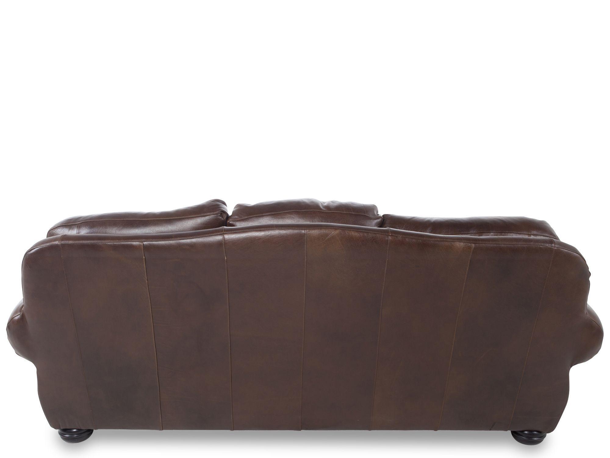 Paisley Printed Leather 94 Sofa In Dark Burgundy