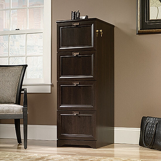 Four-Drawer Contemporary File Cabinet in Cinnamon Cherry