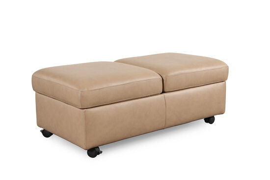 "Contemporary 37"" Leather Double Ottoman with Table Top in Cream"