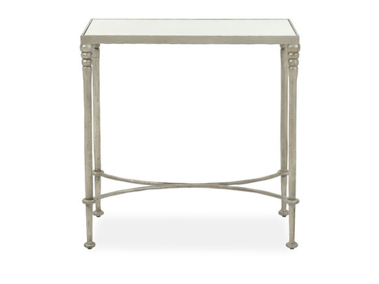 Transitional End Table in Silver Leaf