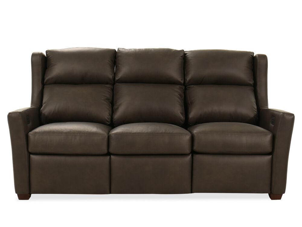 Power Reclining Leather 77 Motion Sofa in Mahogany