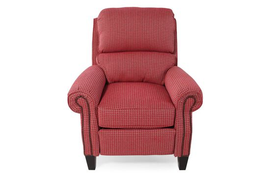 "Houndstooth Patterened Traditional 39"" Recliner in Poppy"
