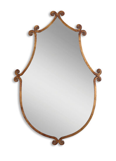 "37"" Hand Forged Accent Mirror in Antiqued Gold"