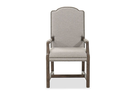 """24"""" Traditional Nailhead Arm Chair in Brown/Grey"""
