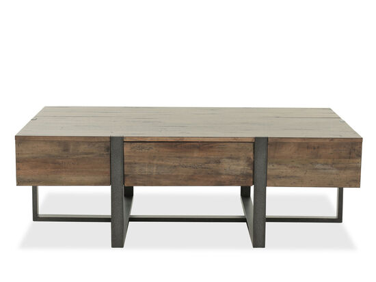 Distressed Rectangular Industrial Cocktail Table in Brown