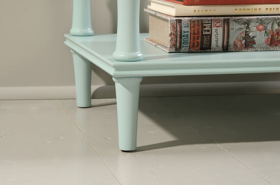 Solid Wood Contemporary Tower Etagere in Orchard Seafoam