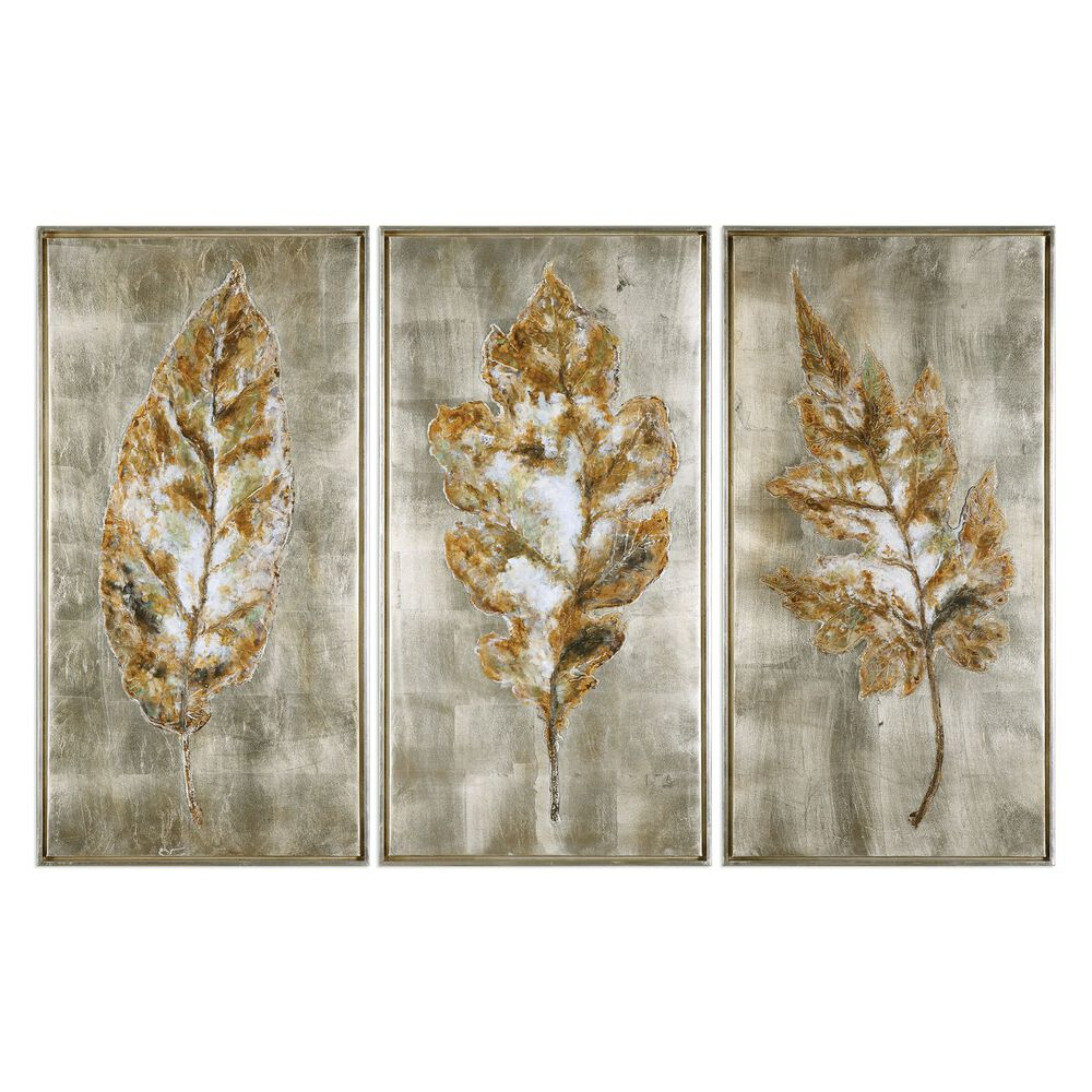 Three Piece Hand Painted Leaves Framed Canvas Wall Art Set Mathis