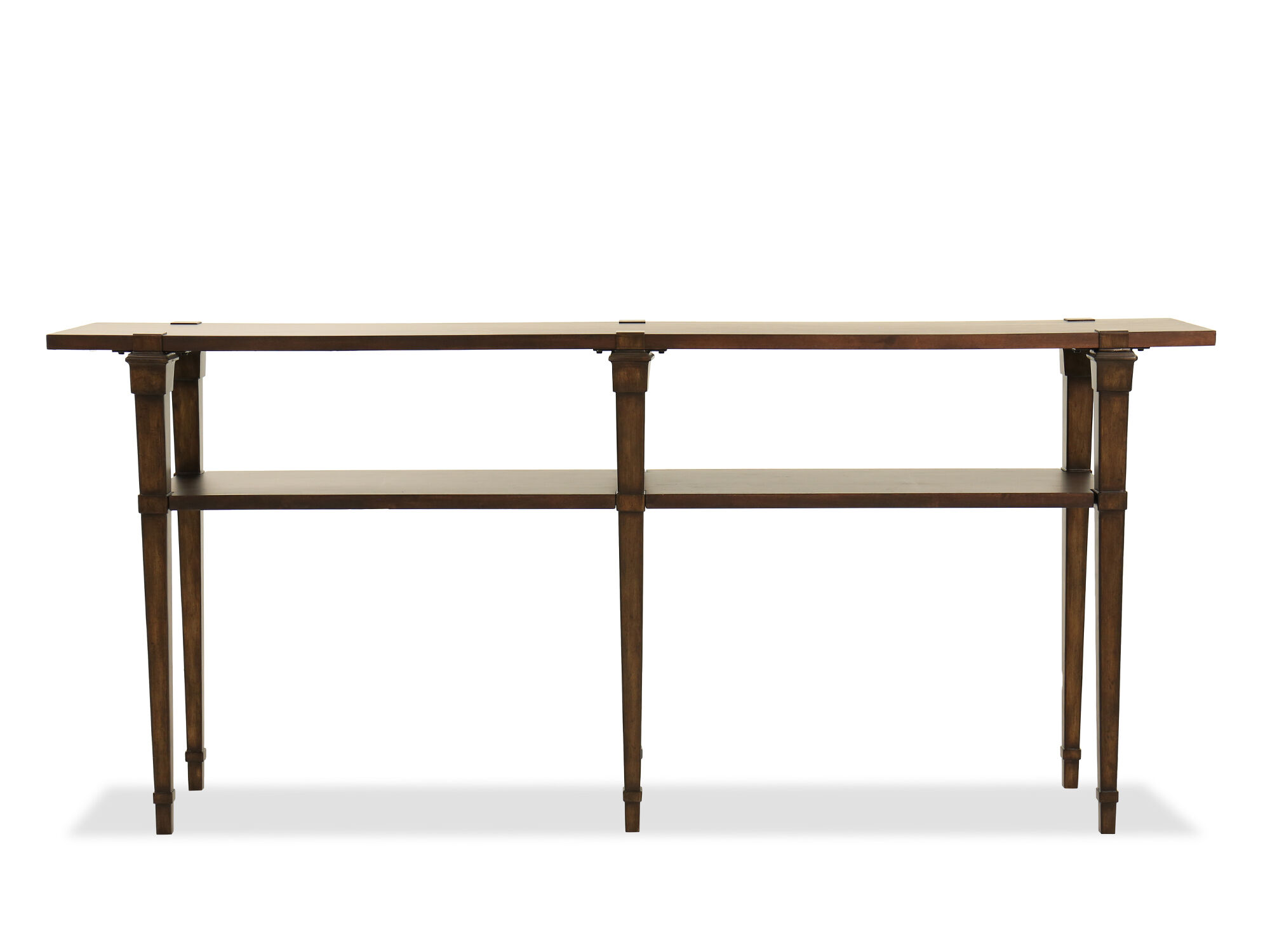 Open Shelf Transitional Skinny Console Table In Brown | Mathis Brothers  Furniture