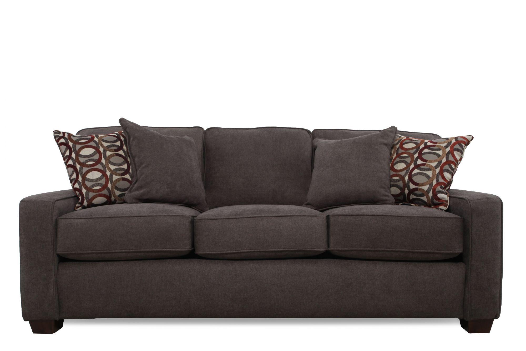 Casual 82u0026quot; Queen Sleeper Sofa In Dark Granite ...