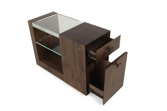 Contemporary Glass Top End Table in Oak