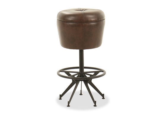 "Traditional 30"" Button-Tufted Bar Stool in Brown"