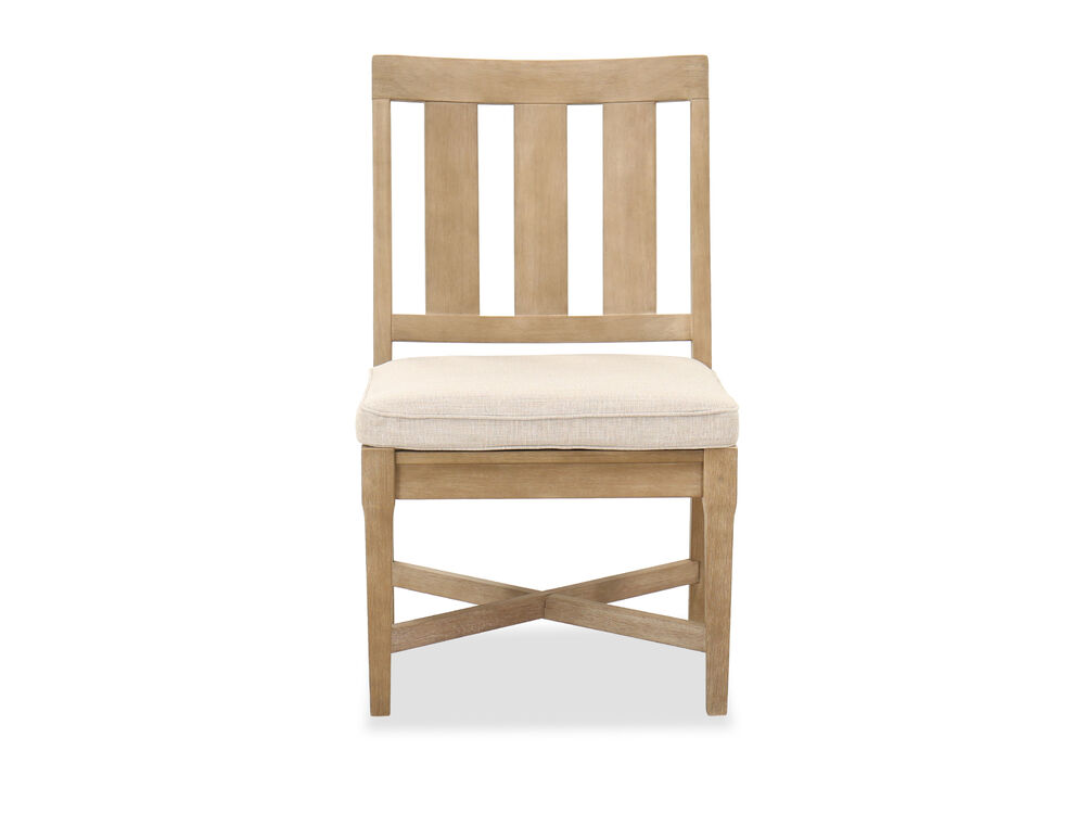Cushioned Seat Contemporary Patio Side Chair in Beige