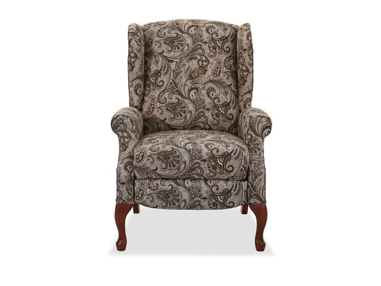 "Contemporary Floral Paisley-Patterned 30"" High Leg Recliner"