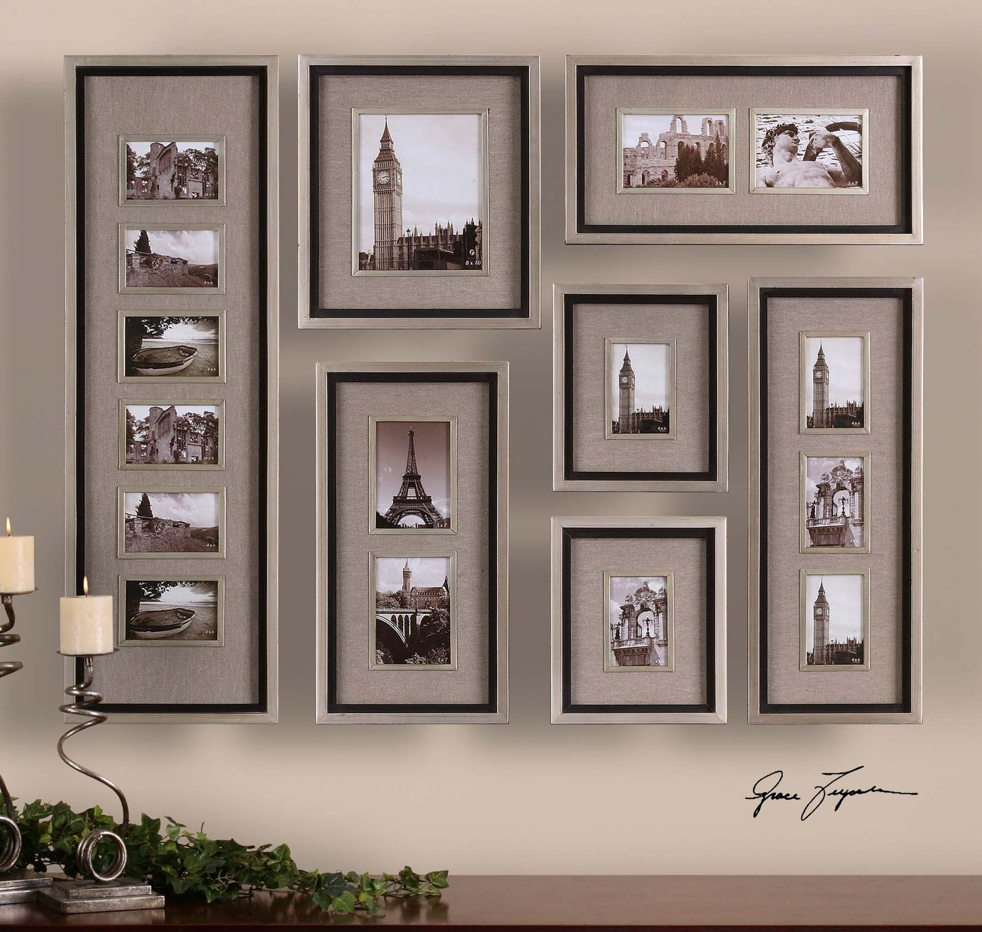 Seven-Piece Photo Frame Wall Collage Set in Oatmeal   Mathis ...