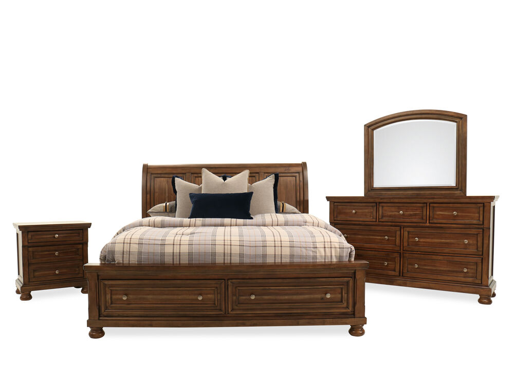 Four-Piece Transitional Storage Bedroom Set in Brown