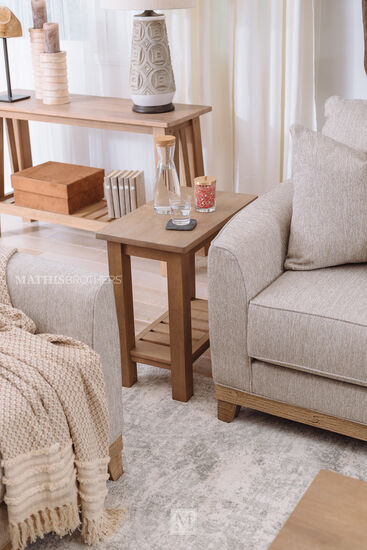Transitional Chairside End Table in Brown