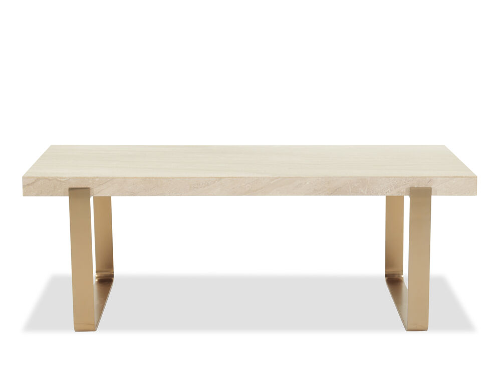 Travertine Top Transitional Cocktail Table In Rose Gold Mathis Brothers Furniture
