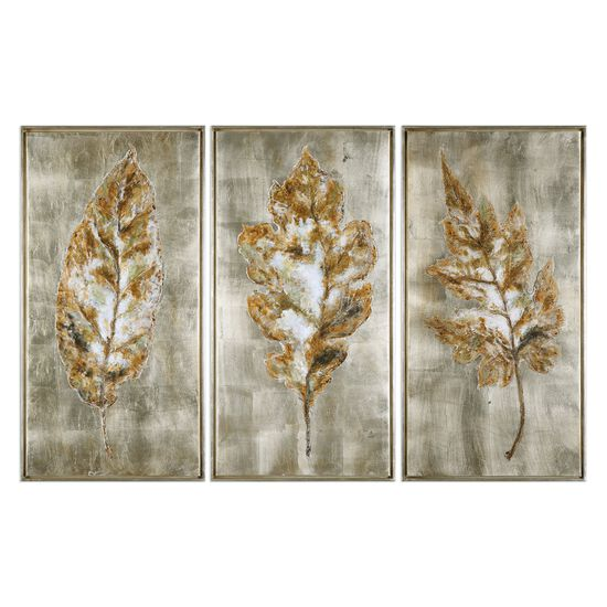 Three-Piece Hand Painted Leaves Framed Canvas Wall Art Set