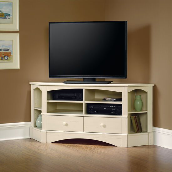 Two-Corner Shelf Transitional Entertainment Credenza in Antiqued White