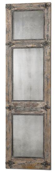 "78"" Distressed Leaner Mirror in Slate Blue"