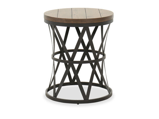 Transitional Barrel Table in Charcoal