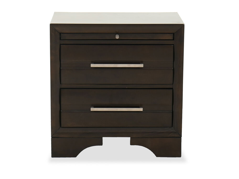 "25"" Two-Drawer Contemporary Nightstand in Dark Brown"