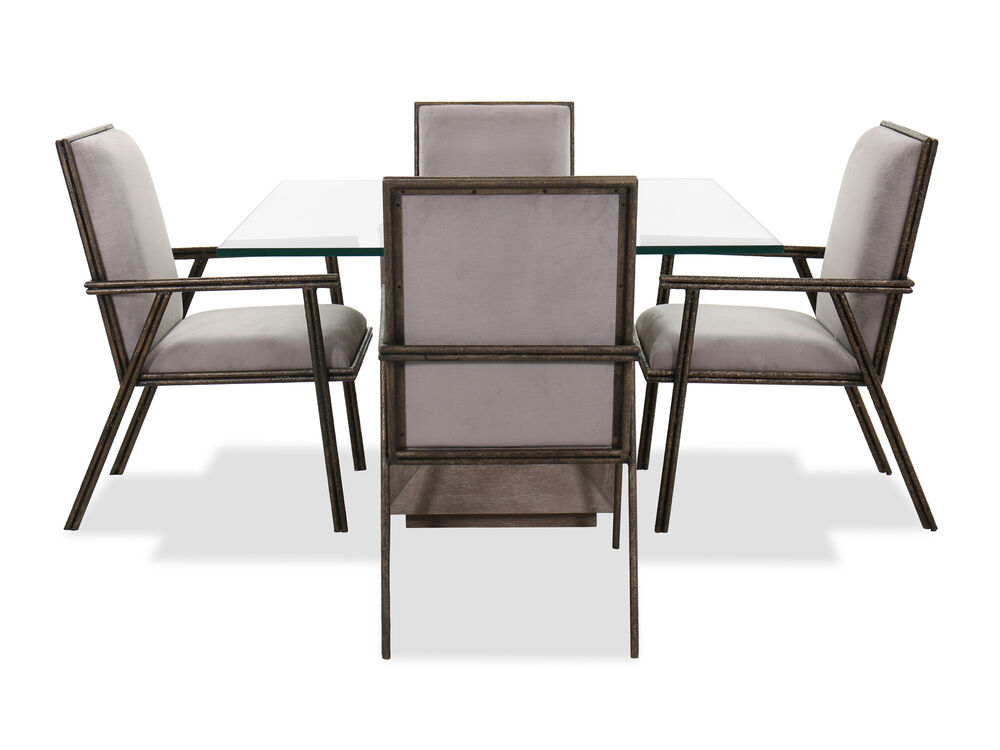 """Five-Piece Transitional 48"""" Dining Set in Gray"""