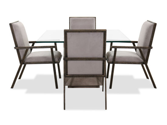 "Five-Piece Transitional 48"" Dining Set in Gray"
