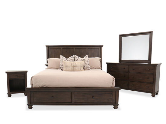 Four-Piece Transitional King Bedroom Set in Chestnut