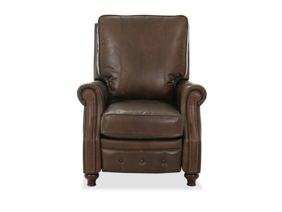 "34"" Leather Nailhead Accent Recliner in Brown"