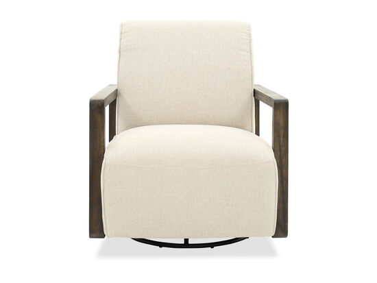 "Transitional 30"" Swivel Arm Chair in Cream"
