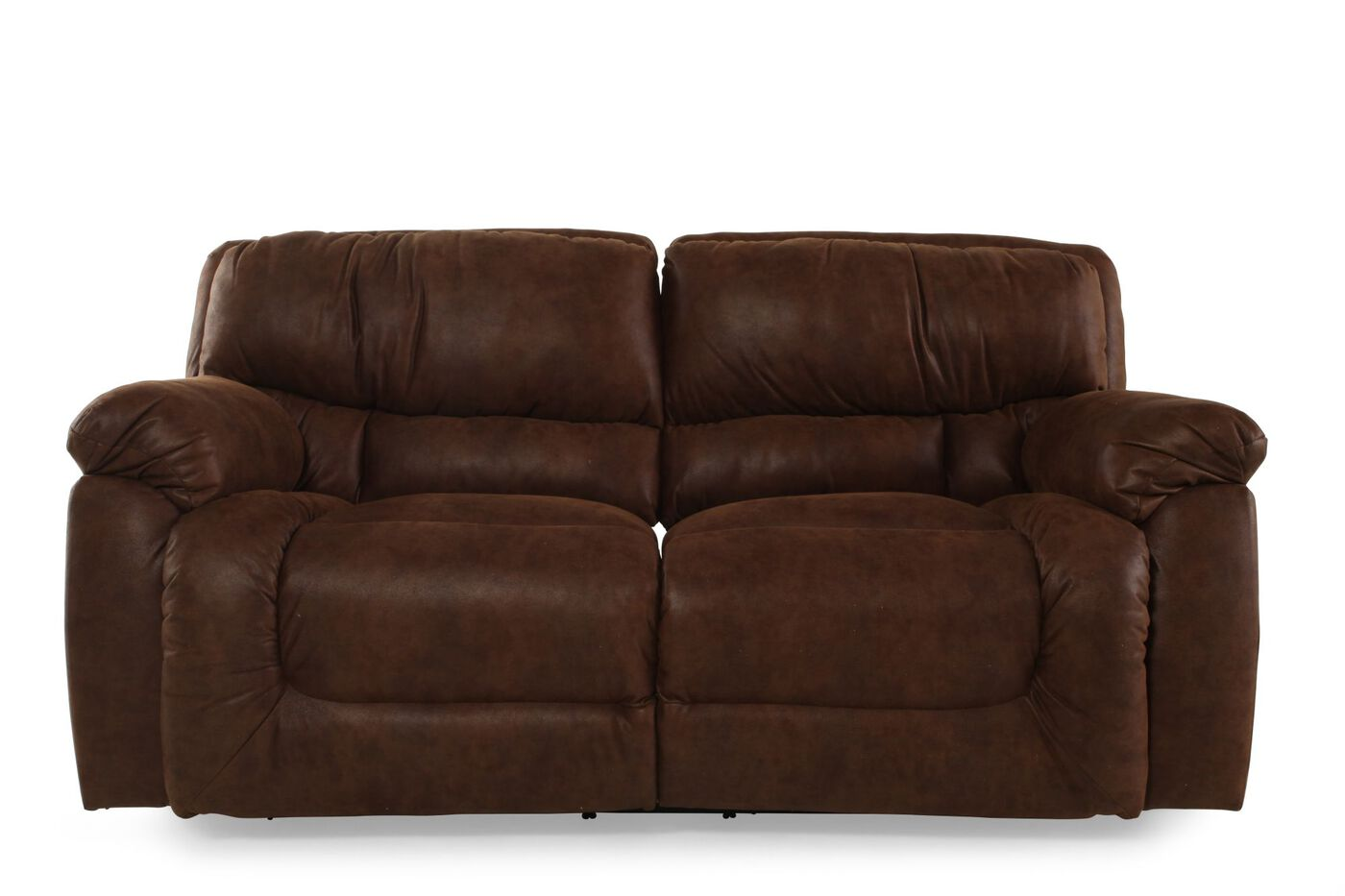 living room sofas reclining microfiber sofa in brown mathis brothers 10055