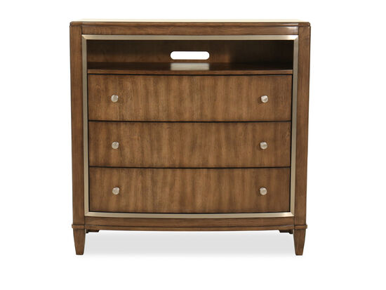 "42"" Traditional Three-Drawer Media Chest in Dark Brown"
