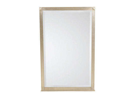 "48.5"" Modern Beveled Mirror in Auric Silver Leaf"