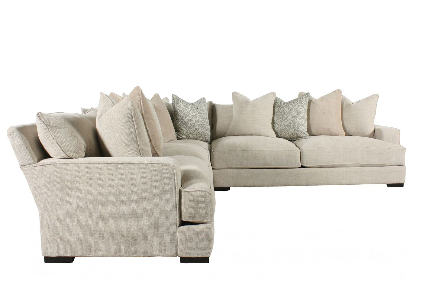 Three piece contemporary sectional in cream mathis for Sectional sofas with 3 recliners