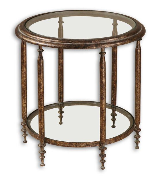 Clear Glass Top Round Accent Table with One Shelf in Brown