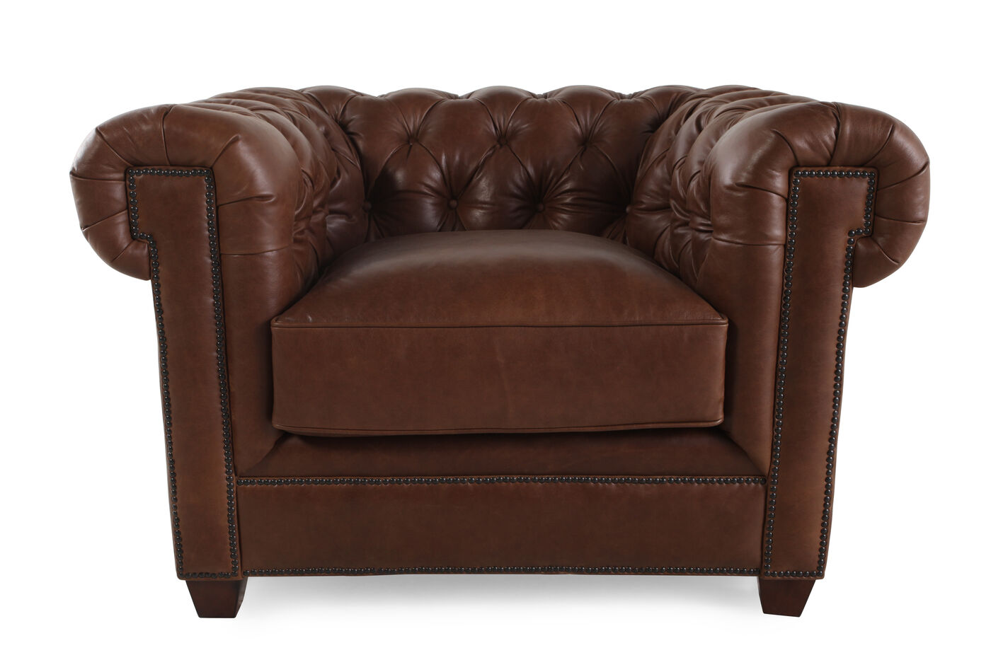 button tufted leather 42 chair in russet brown mathis. Black Bedroom Furniture Sets. Home Design Ideas