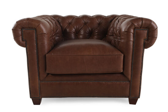 "Button-Tufted Leather 42"" Chair in Russet Brown"