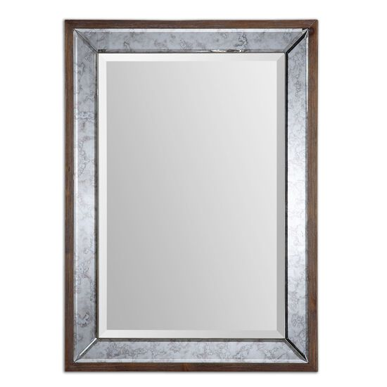 "37"" Beveled Antique Framed Mirror in Aged Pecan"