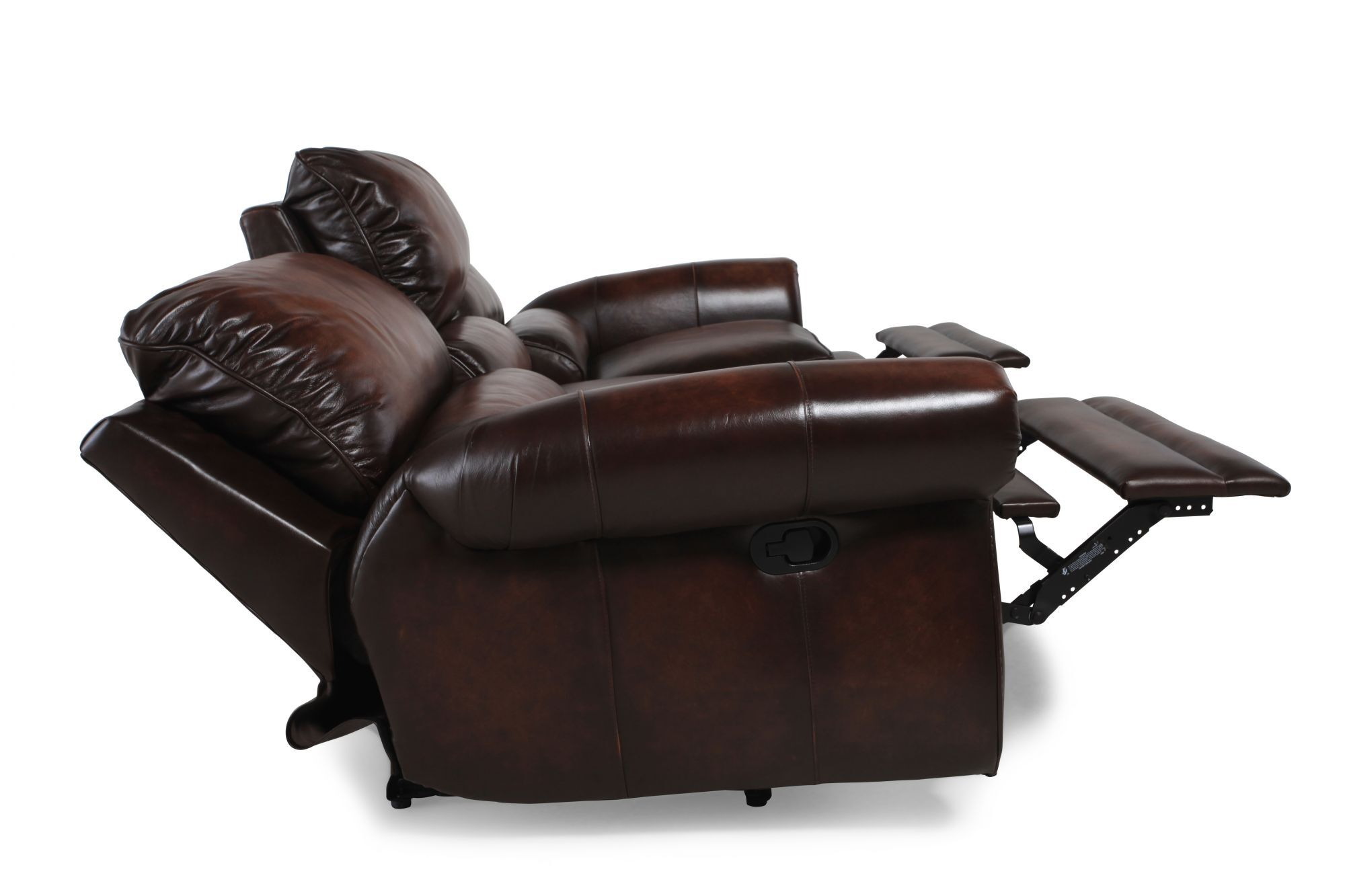 Leather Wall Saver Reclining Sofa In Brown