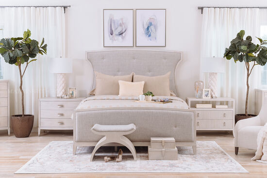 """70"""" Contemporary King Upholstered Bed in Oatmeal"""