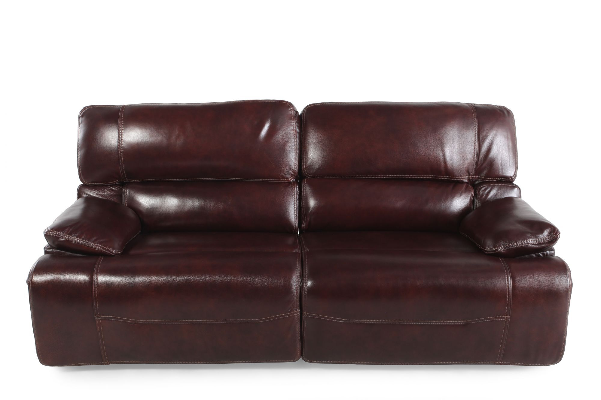 Leather 83u0026quot; Power Reclining Sofa In Cabernet