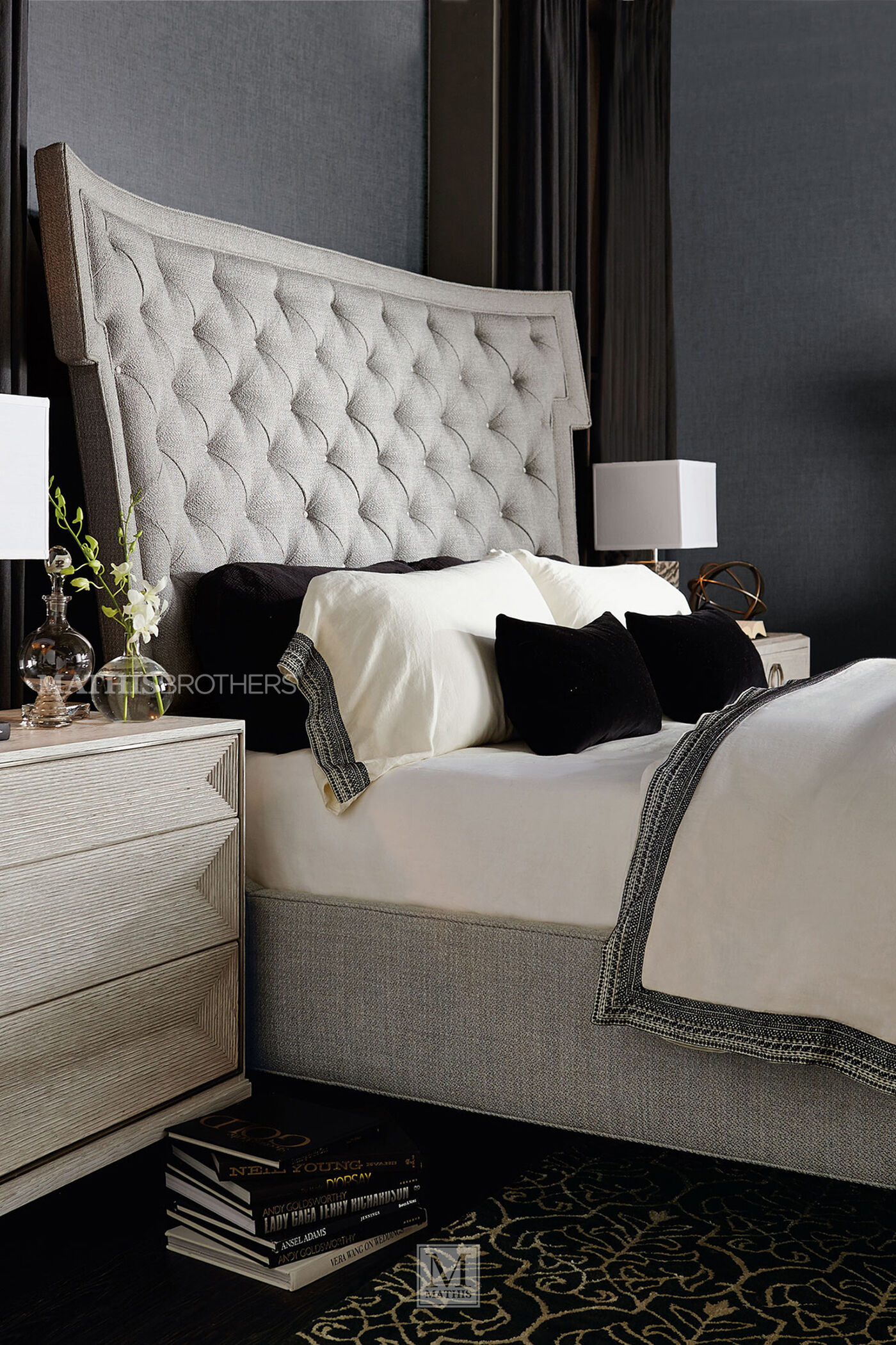 """Tufted Bedroom: 72"""" Modern Button Tufted Bed In Gray"""