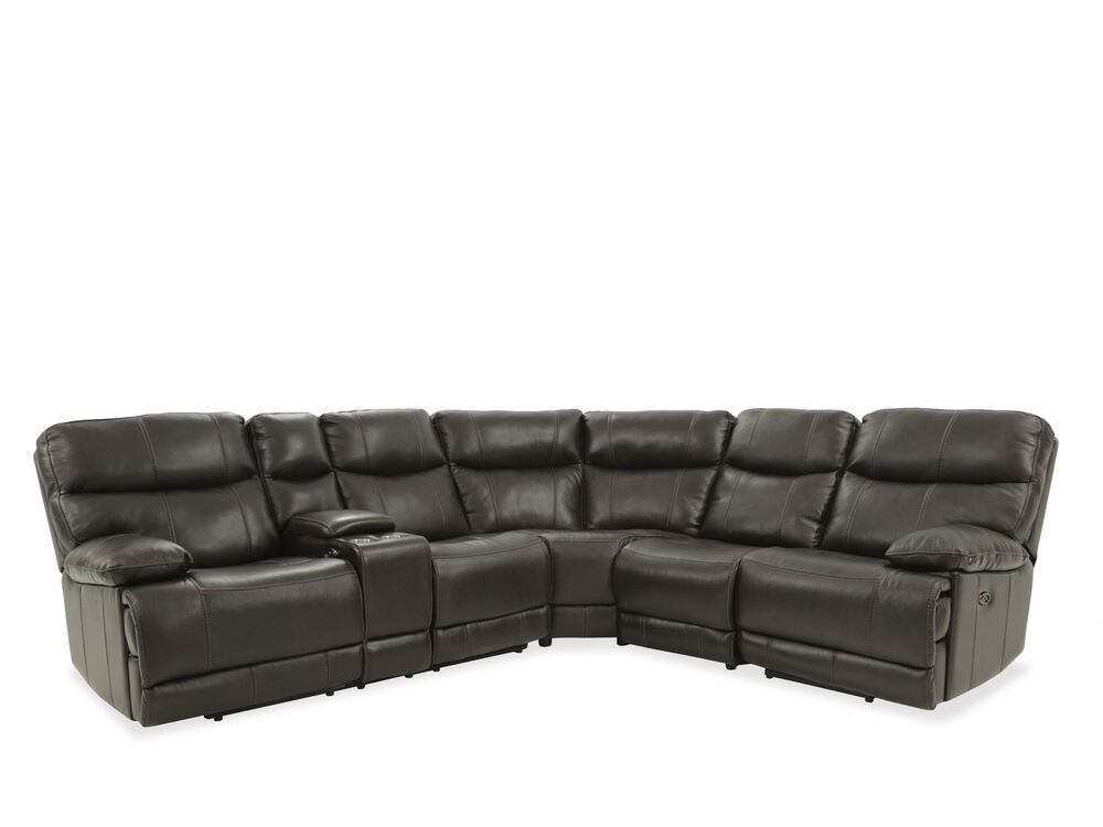 Four-Piece Leather Reclining Sectional in Brown
