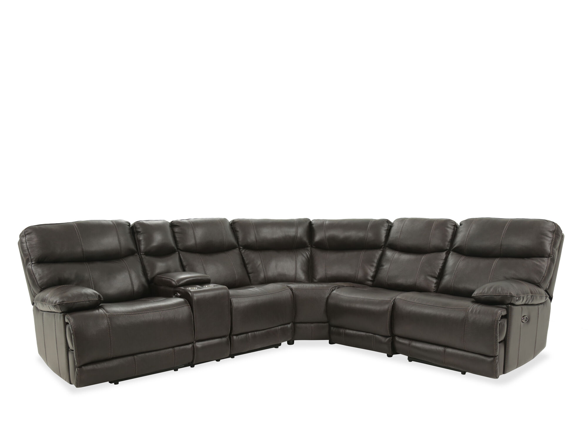 Four Piece Leather Reclining Sectional In Brown ...