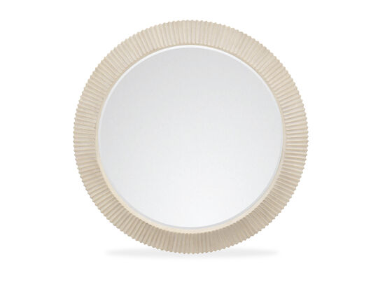 Contemporary Reeded 44'' Round Mirror in Cerused Linen
