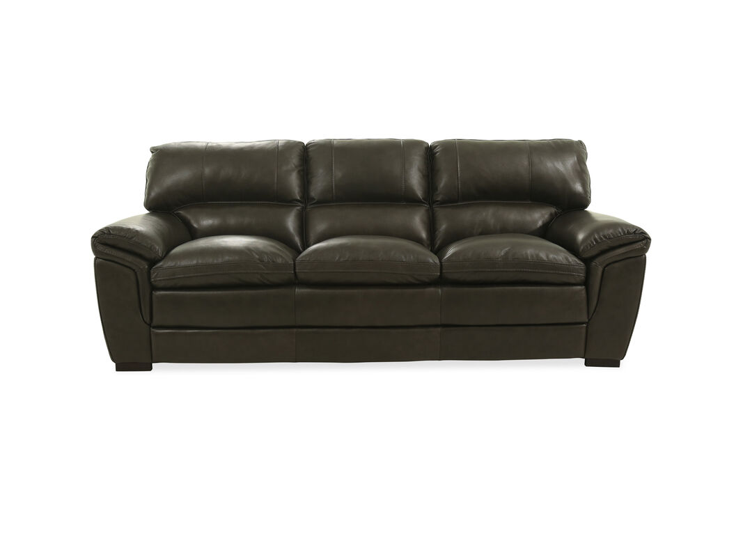 Covered In Plush Leather This Three Seater Sofa Is Highlighted With Pillow Top Arms For Ultimate Support And Comfort It Showcases Cushioned Box Seat