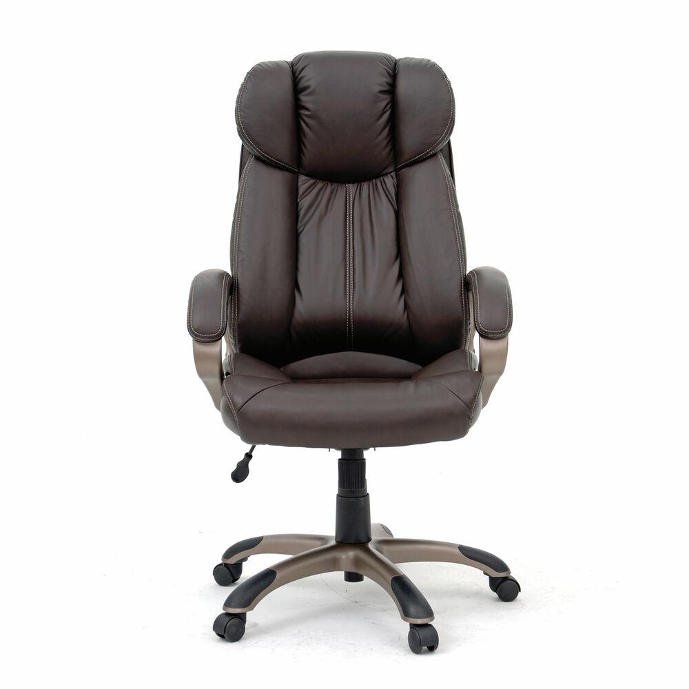 Leather Contoured Executive Swivel Tilt Chairin Brown